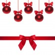 Shiny ribbon and bow close up isolated. Christmas bauble — Stock Photo #60051963