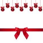 Shiny ribbon and bow close up isolated. Christmas bauble — Stock Photo #60051971
