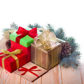 Gift boxes with ribbons. Christmas presents — Stock Photo