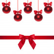 Red ribbon bow end bauble on white background. Christmas tree. — Stock Photo #60156625