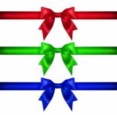 Set for design. Red blue green Christmas ribbon, bow, gift — Foto de Stock