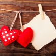 Valentines Vintage Handmade Hearts over Wooden Background. — Stock Photo #61804077