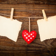 Valentines Vintage Handmade Hearts over Wooden Background. — Stock Photo #62617807