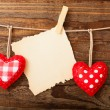 Valentines Vintage Handmade Hearts over Wooden Background. — Stock Photo #62617809