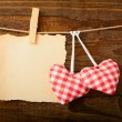 Valentines Vintage Handmade Hearts over Wooden Background. — Stock Photo #62617827