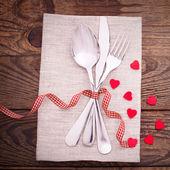 Valentines dinner on wooden background — Stock Photo