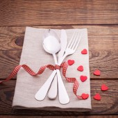 Valentines dinner on wooden background — Stock Photo