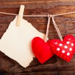 Valentines Vintage Handmade Hearts over Wooden Background. — Stock Photo #62632351