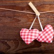 Valentines Vintage Handmade Hearts over Wooden Background. — Stock Photo #62632365