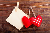 Valentines Vintage Handmade Hearts over Wooden Background. — Stock Photo