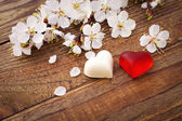 Wedding hearts. Spring. Flowering branch with white delicate flowers on  wooden surface. — Foto de Stock