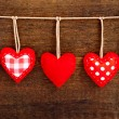 Valentines Vintage Handmade Hearts over Wooden Background. — Stock Photo #64734095