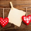 Valentines Vintage Handmade Hearts over Wooden Background. — Stock Photo #64734099