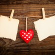 Valentines Vintage Handmade Hearts over Wooden Background. — Stock Photo #64734117