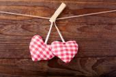 Valentines Vintage Handmade Hearts over Wooden Background. — Stockfoto
