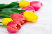 Bouquet of spring flower tulips — Stock Photo
