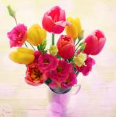 Spring Flowers eustoma and tulips — Stock Photo