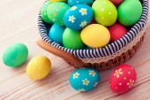 Easter eggs on wooden background — Stock Photo