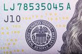 Abstract of One Hundred Dollar Bills with Narrow Depth Field. — ストック写真