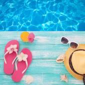 Summer Holidays. Beachwear on wooden background. — Stock Photo