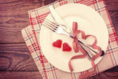 Valentine day love beautiful. Romantic dinner, tableware hearts. — Stock Photo