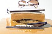 Close-up van gitaar en potlood voor maken muziek selecteren speciaal — Stockfoto