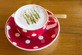 Matcha Latte Cup of green tea on wooden — Stockfoto