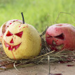 Chinese pear and apple for halloween on hay — Stock Photo #56253119