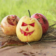 Chinese pear and apple for halloween on hay — Stock Photo #56253301