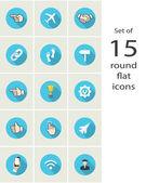 Round flat icons — Stock Vector