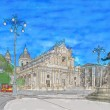 Painting of Piazza del Duomo — Stock Photo #69495665