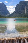 Pedal boat on Lake dobbiaco — Stock Photo