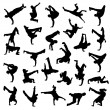 siluetas de break dance — Vector de stock  #53033835