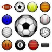 Pixel sports balls — Stock Vector