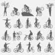 Bicyclists silhouettes set — Stock Vector #54767245