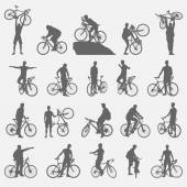 Bicyclists silhouettes set — Stock Vector