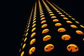 Abstract composition with orange circles on a black background — Foto de Stock