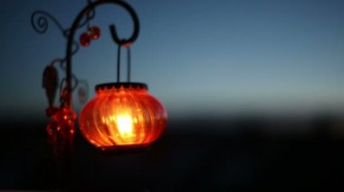 Red Lantern with a candle — Stock Video