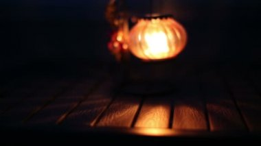 Lantern with a candle — Stock Video