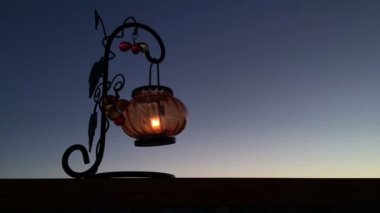 Timelapse Lantern with a candle — Stock Video