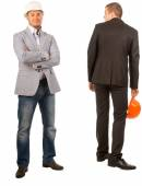 Two Male Middle Age Engineers on White Background — Stock Photo