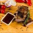 Appetizing Well Cooked Meat with Dipping Sauce — Stock Photo #55008195