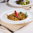 Bowl of Stir Fried Noodles with Hot Pepper — Stock Photo #55008989