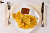 Overhead of Nacho Chips and Salsa on Plate — Stock Photo