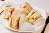 Close Up of Triple Decker Sandwich on Plate — Stock Photo