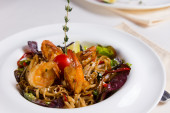 Shrimp and Noodles in Bowl — Stock Photo