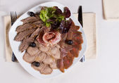 Overhead of Assorted Meat Plate — Stockfoto