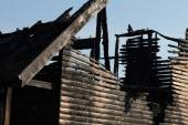 Close up Fire Damaged Wooden House — Stock Photo