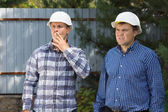 Middle Age Building Planners at Construction Site — Stock Photo