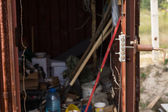 Tool shed on a construction site — Stock Photo